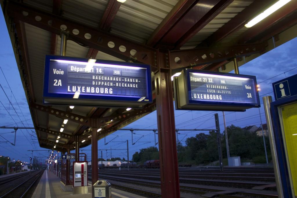 Zugzielanzeiger in Pétange