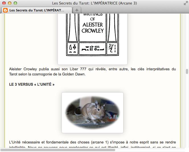 Screenshot: Französisches Tarot-Blog mit Degu