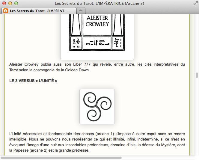 Screenshot: Französisches Tarot-Blog mit meinem Triskel