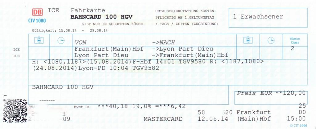 Fahrkarte zum Tarif BahnCard 100 HGV