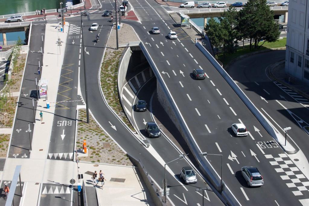 Blick auf die Rhône-seitige Tunneleinfahrt