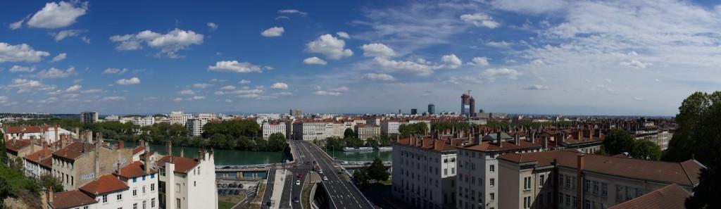 Lyon von oberhalb des Croix-Rousse-Tunnels
