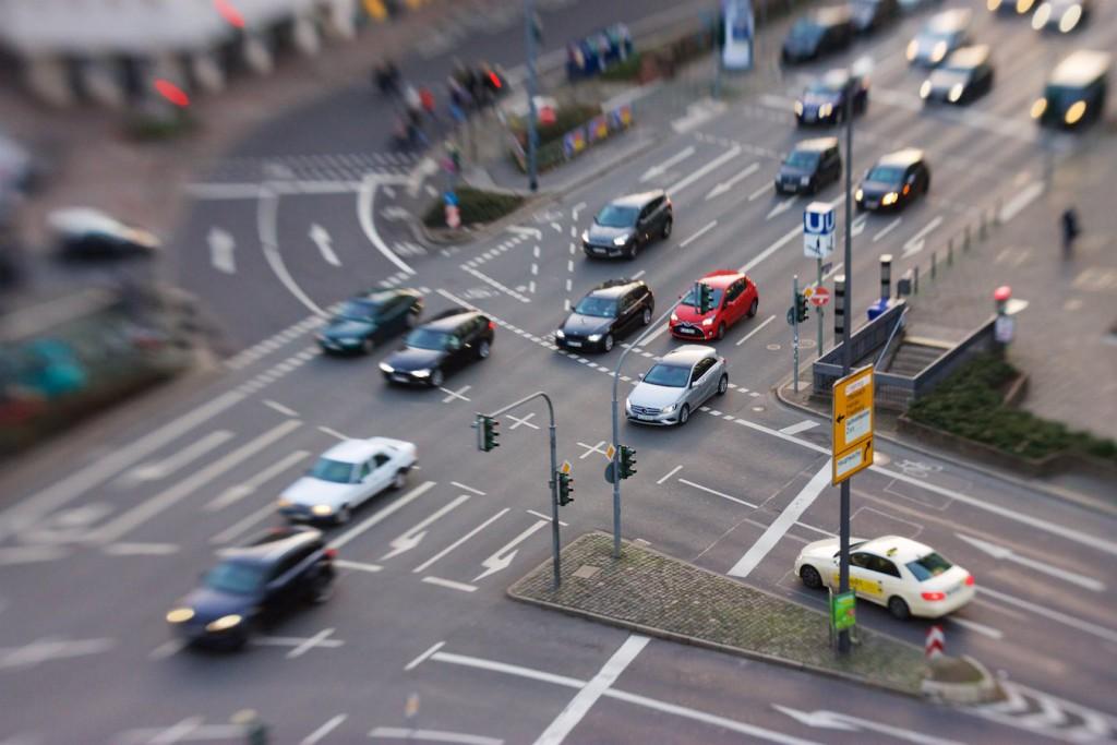 Blick vom Hotel Fleming's auf die Kreuzung am Eschenheimer Tor