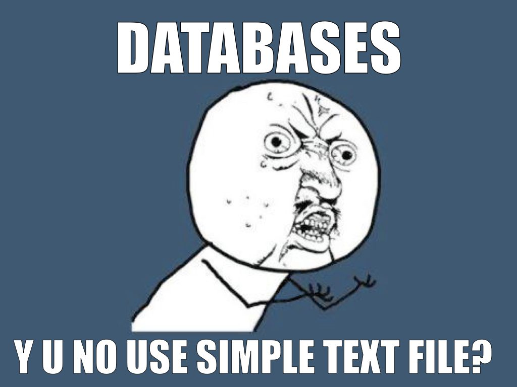 Databases – Y U no use simple text file?