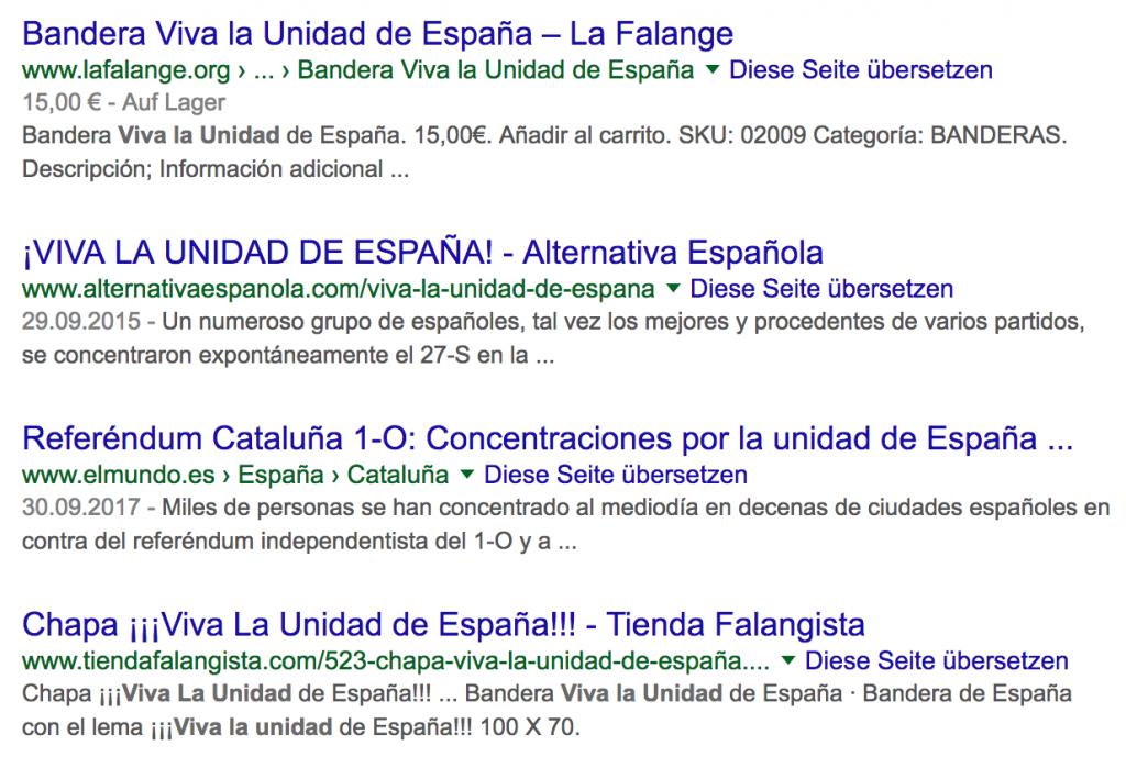 """Screenshot der Suche nach """"Viva la unidad de España"""""""
